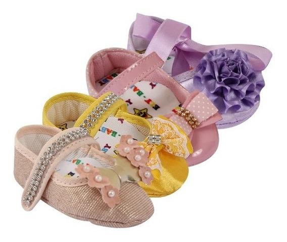 Kit 04 Pares Sapatinho Bebê Menina Floral