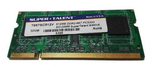 Memoria Ddr2 512mb 667mhz Sodimm Super Talent