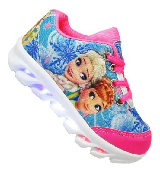 Tenis Feminino De Led Infantil Frozen Elsa Ana Barato