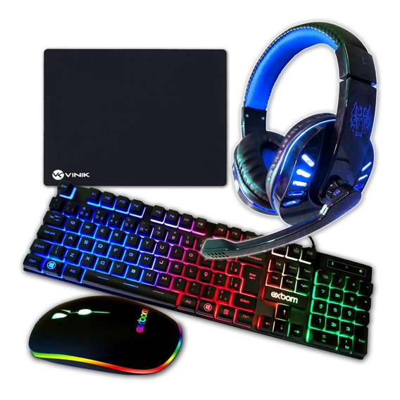 Teclado Gamer Mouse Gamer Head Set Gamer Com Mousepad