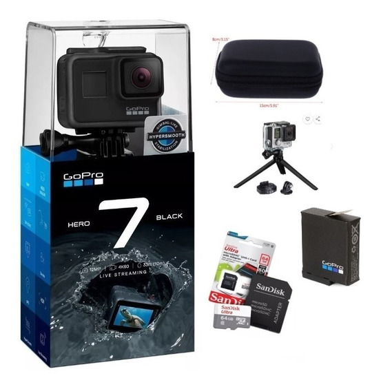 Gopro+ Cartão Ultra 64gb + Bateria + Case + Tripé Original