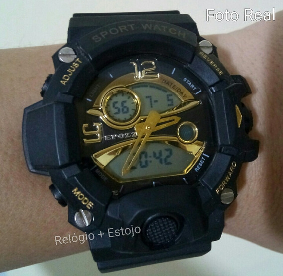 Relógio Militar S Shock Led Digital Prova Dágua Ouro & Preto