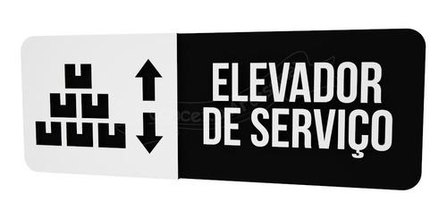 Imagem 1 de 2 de Placa Preta Elevador Serviço Hotel Consultório Restaurante