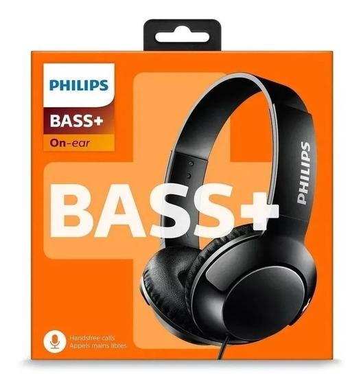 Fone Philips Shl3075 Bass+ Headphone Microfone Preto