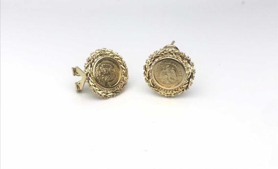 Aretes De Moneda Oro 10k