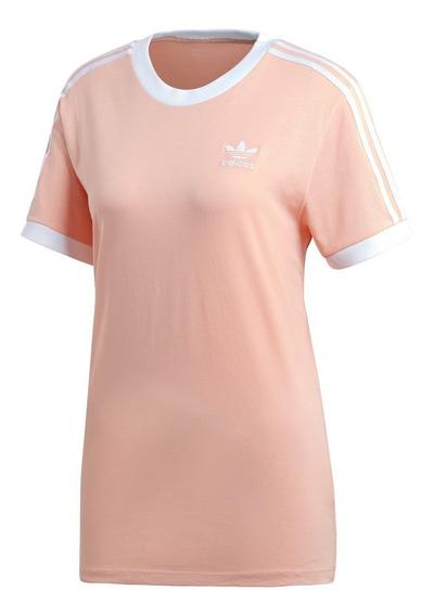 Remera adidas Originals 3 Stripe Ros/bla De Mujer