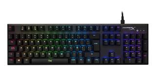 Teclado para pc QWERTY HyperX Alloy FPS Kailh Silver Speed español negro con luz RGB