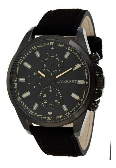 Relógios Masculino Everest Pulseira Preta Couro Original