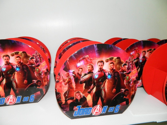 6 Bases Centro De Mesa Ch Avengers Infinity Personalizados