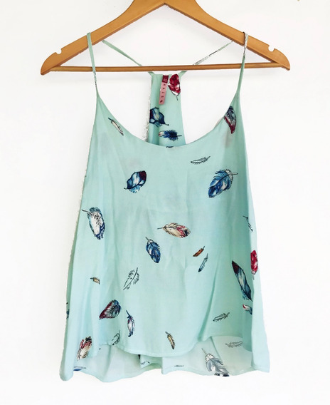 Musculosa Blusa Top Crepe Plumas Talle 40 S / M