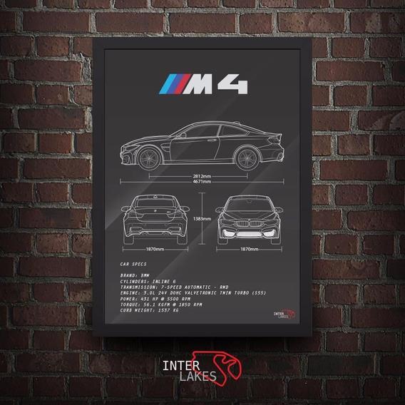 Quadro Bmw M4 Coupe - Poster Carro Interlakes