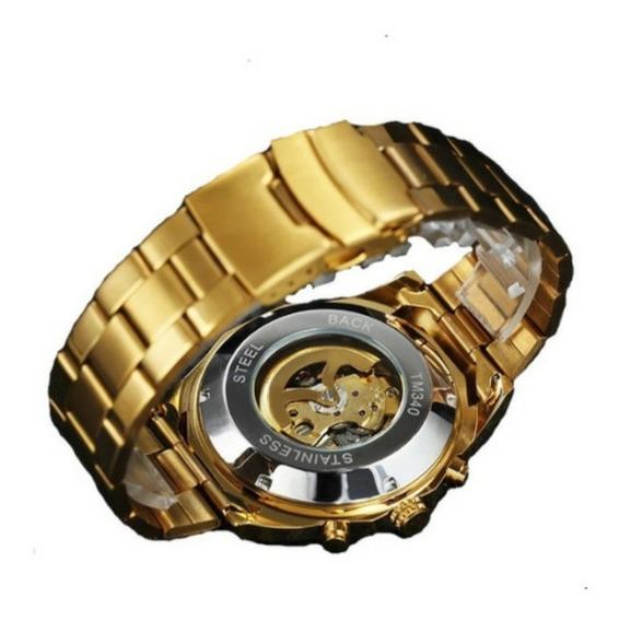 Relogio Skeleton Mecanico Automatico,original,dourado Prata
