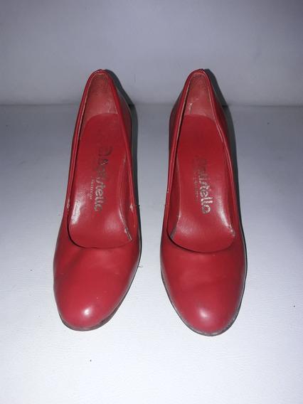 Zapato Taco Batistella Rojo Mujer Usado