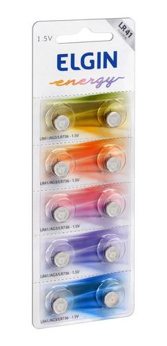 Imagem 1 de 4 de 10 Pilhas Baterias Lr41 Alcalina Elgin - 01 Cartela