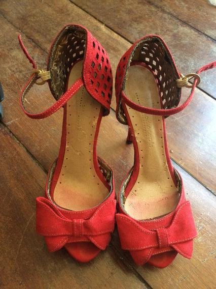 Lindo Sapato Alto Vermelho Tam 35