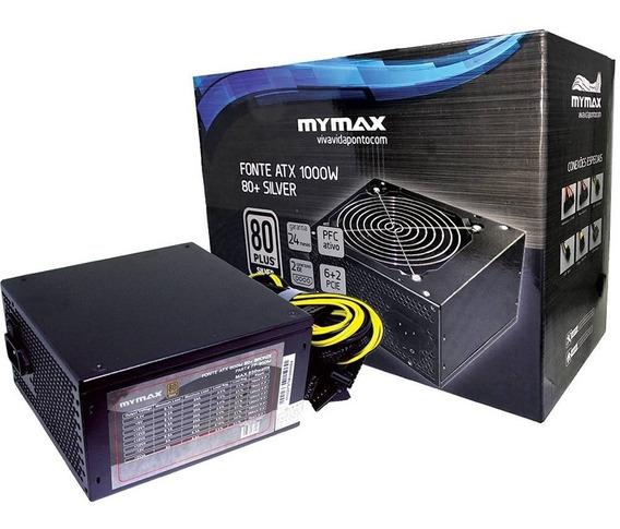 Fonte Atx 1000w 80 Plus Silver Pfcativo Fp1000 Mymax