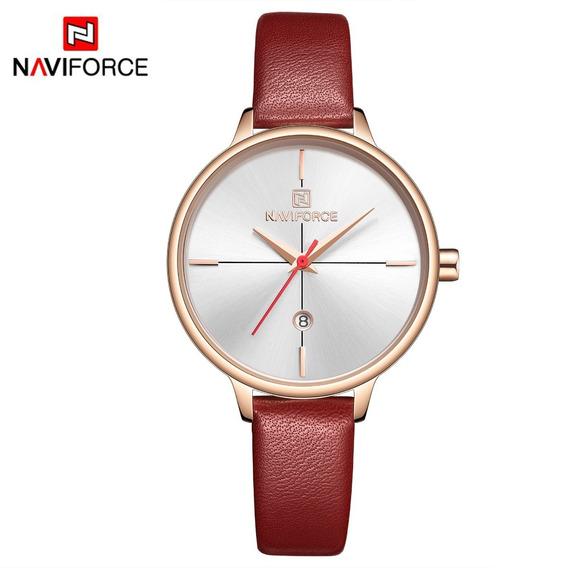 Relógio Feminino Naviforce 5006 Quartz Slim Vermelho Novo