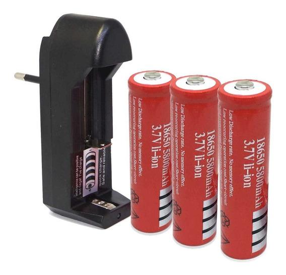 Bateriarecar18650 5800mah3,7v Li-ion-carregador C/ 1 Bateria