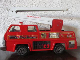 Antiguo Carro Tonka De Bomberos Metalico Años 80 Gran Tamaño
