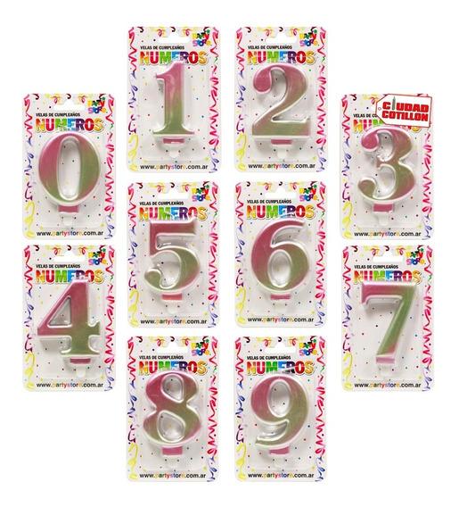 Vela Números Iridiscente Velita Cumpleaños - Ciudad Cotillón
