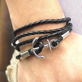 Pulseira Masculina Bracelete Ancora Couro Metal Preta