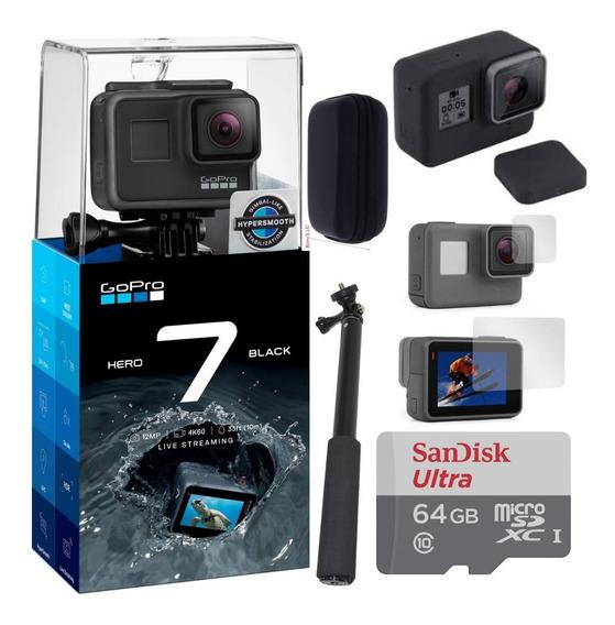 Gopro Hero7 Black +cartão64 Gb+ Película+ Capa+ Selfie+ Case