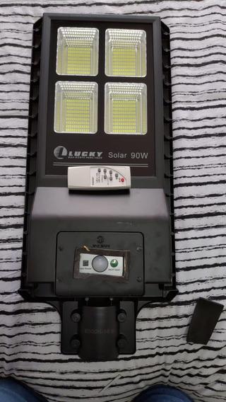 Novo Refletor Luminária Pública Poste Solar Led 90w C Sensor