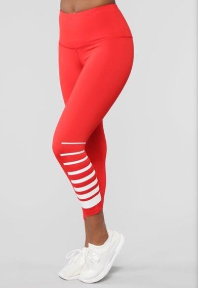 Malla Para Gym Roja Con Blanco Diseño Rasgado