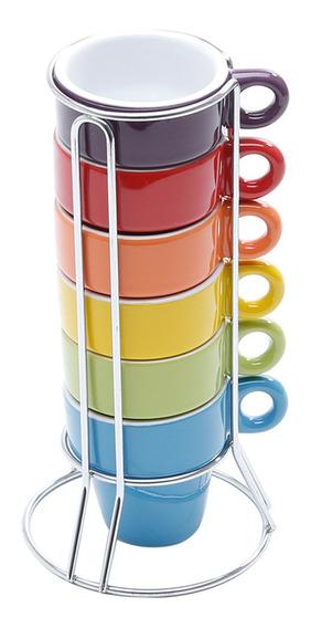 Jogo De Xícaras De Café 6 Peças Coloridas Com Suporte