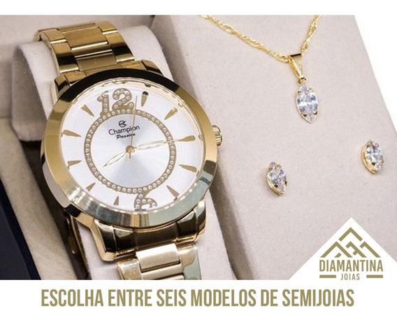 Relógio Feminino Champion Ch24259h Com Brinde Kit Semijoias