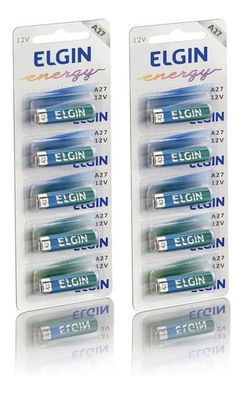 Bateria Alcalina 12v A27 2 Cartelas 10 Unidades Elgin
