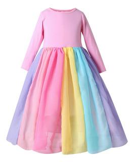 Vestido Arcoiris Para Ni?as Vestido De Princesa Colorido Tul
