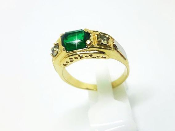 Anel Formatura Pedra Verde Masculino Folheado A Ouro 18k (29