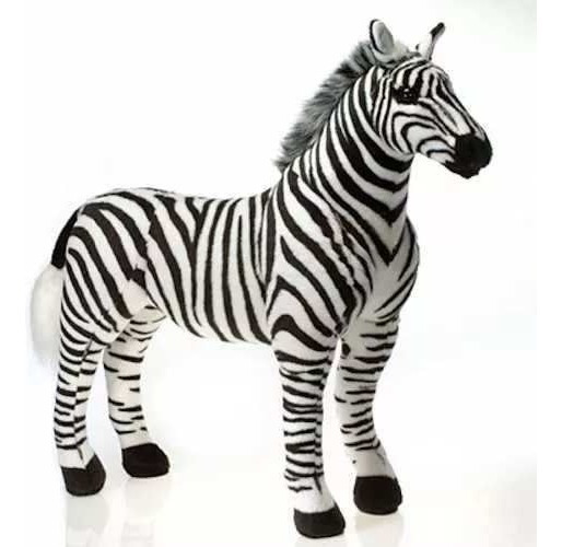 Zebra De Pelúcia Realista Gigante 1m Safári Savana Fofy Toys