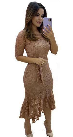Vestido Em Renda Rose Moda Evangélica, Temos Kauly E Hapuk