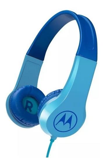 Fone De Ouvido Motorola Squad 200 Kids Com Fio Azul Original