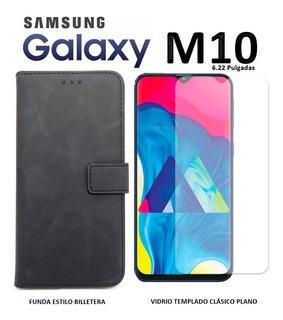Funda Billetera 360º + Templado Plano Samsung M10 Rosario