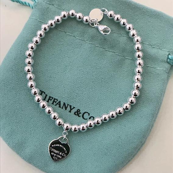 Pulseira Tiff Coração Contas Prata Com Embalagem Bracelete