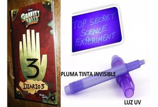 Diario 3 Gravity Falls + Pluma Tinta Invisible + Luz Uv