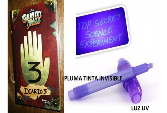 Diario 3 Gravity Falls + Pluma Tinta Invisible + Luz Uv