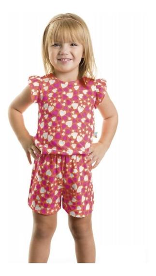 Macaquinho Infantil E Bebê Curto Coração - Roupa De Menina