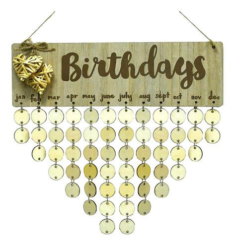 Imagen 1 de 8 de Calendario De Cumpleaños De Madera En Forma De Corazon