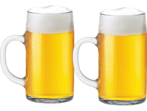 Caneca Chopp Cerveja Copo Cerveja Mass Krug Lisa 1 Litro 2pç