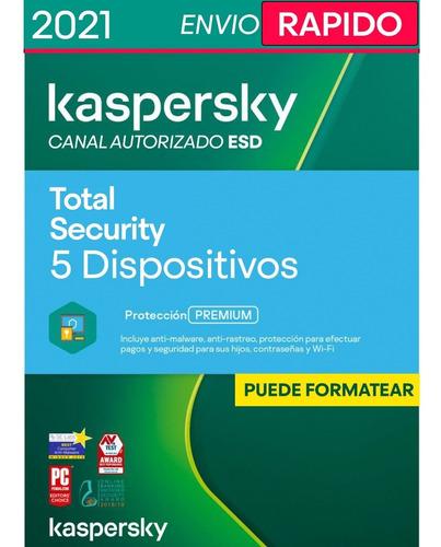Imagen 1 de 4 de Kaspersky Total Security 5 Disp. 2 Años Licencia Original