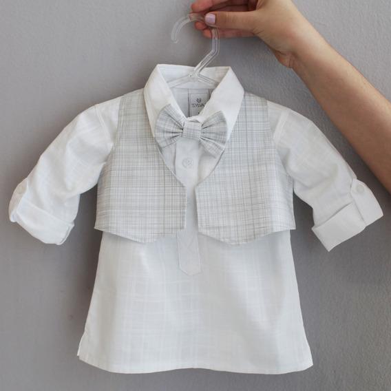 Colete Com Gravata Para Bebê - Xadrez Cinza