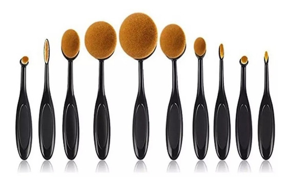 Set 10 Brochas Oval Flexibles Para Maquillaje Profesional