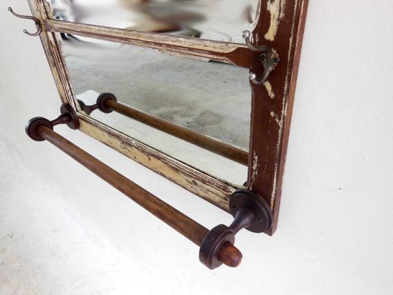 Cabide Rústico C/ Porta Toalhas De Janela Antiga C/ Espelho