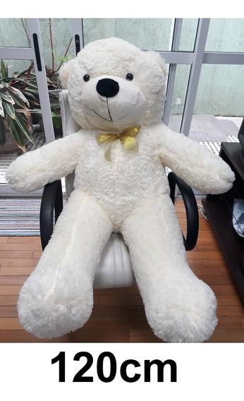 Urso Branco Creme Grande Gigante 1,2 Metros 120 Cm + Lacinho