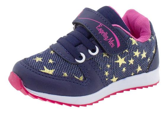 Tênis Infantil Feminino Espelho Meu Botinho - 788 Azul/rosa