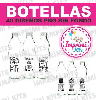 Frases Botellas Png Agua Jugo Leche Sublimado Vinilos Kit
